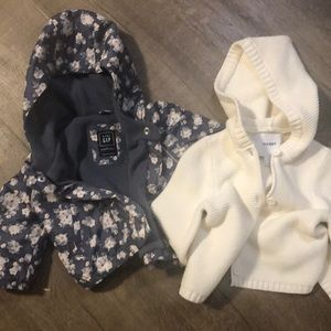 Baby Girls Gap lined jacket & Old Navy Sweater